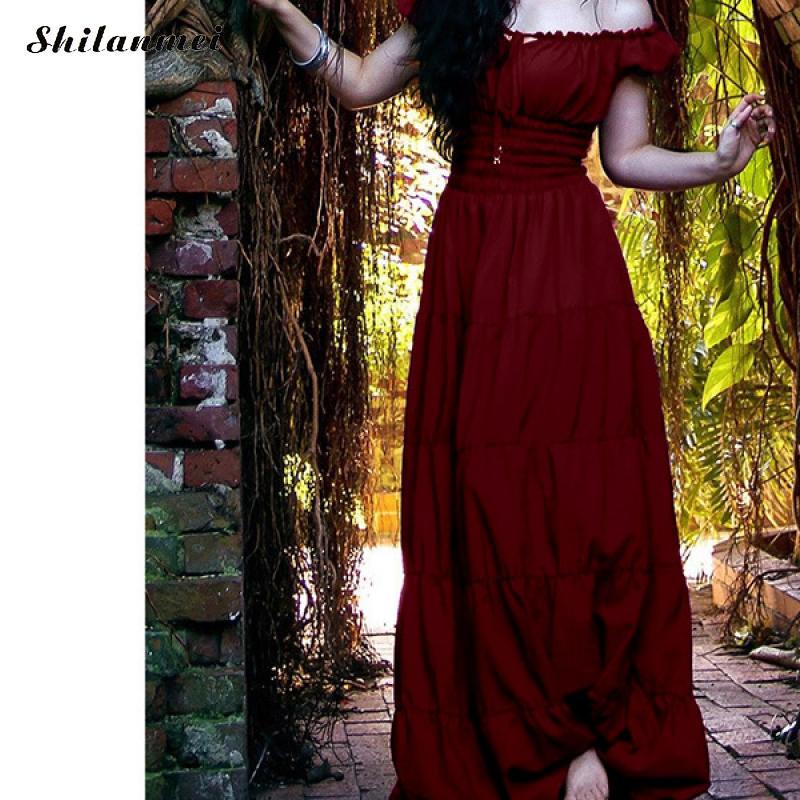 Vintage Women/'s Renaissance Gothic Costumes Medieval Gown Size Retro Dress
