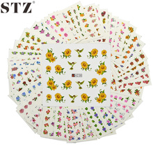 STZ 48 Sheets Nail Art Water Sticker Set Pretty Multi Color Mix Flowers Pattern Wrap Transfer Decals Beauty Polish Tip A193-240
