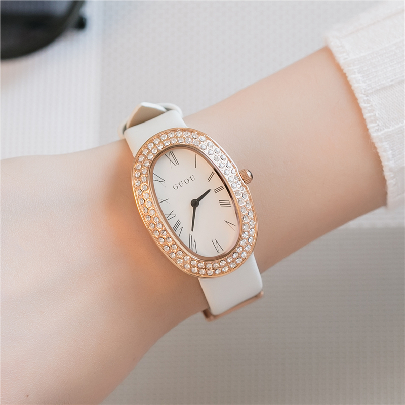 GUOU Brand reloj mujer Fashion Oval Women Quartz Watch 2017 Luxury Rhinestone Roman Numeral Quartz Watches Women Clock Black<br>