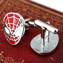 New Arrival Men Jewelry Famous Movies Spiderman Red Cufflinks Cuff Links Silver Plated Alloy Cuff Buttons Christmas Gift