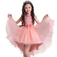 Flower Girl Dresses With Bow Beaded Lace Dovetail dress Up Applique Ball Gown First Communion Dress for Girls Customized Vestido