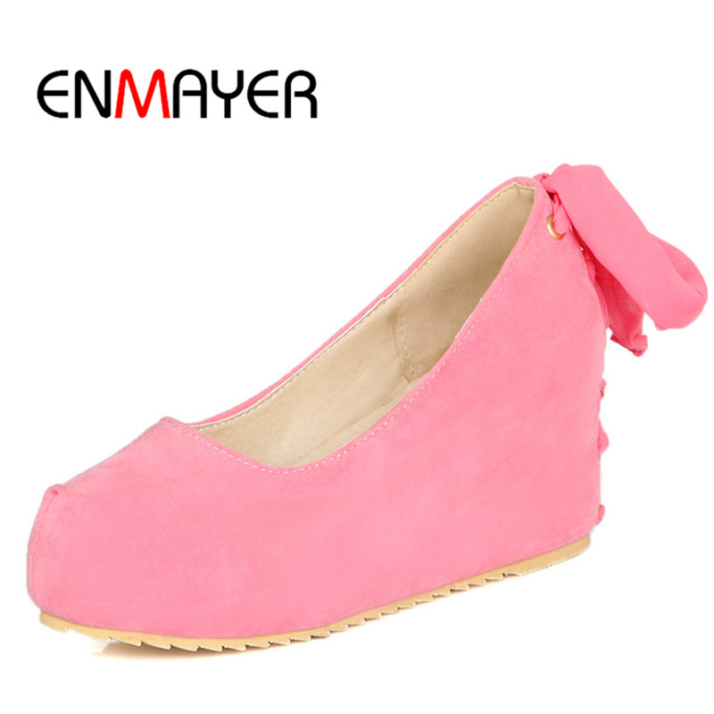 ENMAYER Hot Selling Casual Style Women Platform Pumps Shoes Black Pink Beige Fashion Heel-height Shoes Size 34-39 Shoes Women<br><br>Aliexpress
