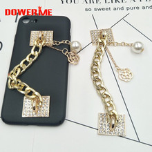 Dower Me Brand Alloy crystal imitation pearl Mobile Phone Chain DIY Fashion Phone Hanging Ornaments/Adornment/Trim/Finishing