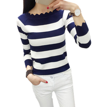 Women Casual Autumn Striped Crochet Sweaters Fashion Knitted Pullovers Sweaters Top Rebecas Mujer Women Winter Clothes(China)