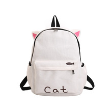 Cute Cat Ear Women Canvas Backpack Cartoon Embroidery Backpacks For Teenage Girls School Bag Casual Letters Rucksack mochilas(China)