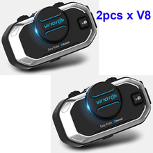 2pcs Vimoto V8 850mAh Motorcycle Multi-functional Helmet Bluetooth Headset Motorbike Stereo Headset For Two Way Raido(China)