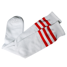 MACH Red stripes on white tube socks Sports / Athletic / Football / Soccer Top Knee.