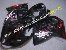 Hot Sales,For Suzuki Fairing GSX-R1300 2008-2013 GSXR1300 GSXR 1300 08 09 10 11 12 13 Red Flame Fairings (Injection molding)
