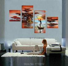 New Canvas Art Tree Oil Painting On Canvas 4 Pcs Modern People Sun Sailboat Set Home Abstract Wall Decor Picture for Living Room