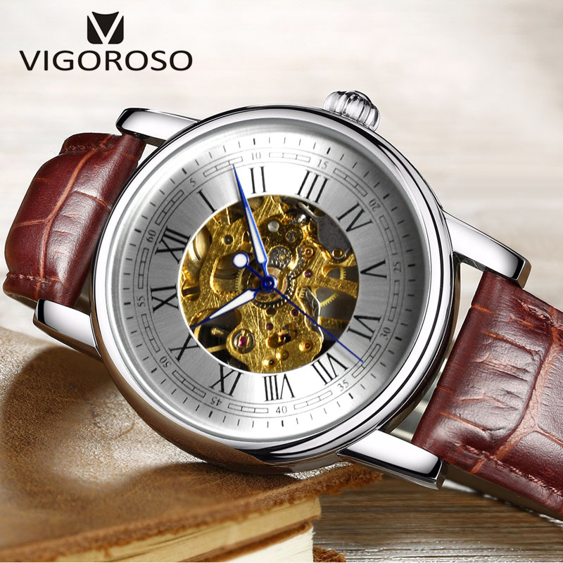 VIGOROSO Mechanical Watch Men Black Brown Leather Stainless Steel Case Skeleton Gold Movement Brand Wristwatch Relojes Masculino<br>