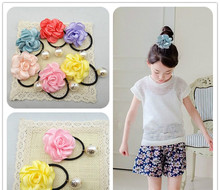 New product Iron edge camellia girl hair ornaments Pearl hair bands South Korean children tire hair style  fine lovely