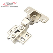 1 Pair 35mm Cup Half Overlay Concealed Hinge Satin Nickel Kitchen Cabinet Door Hinges Without Damper