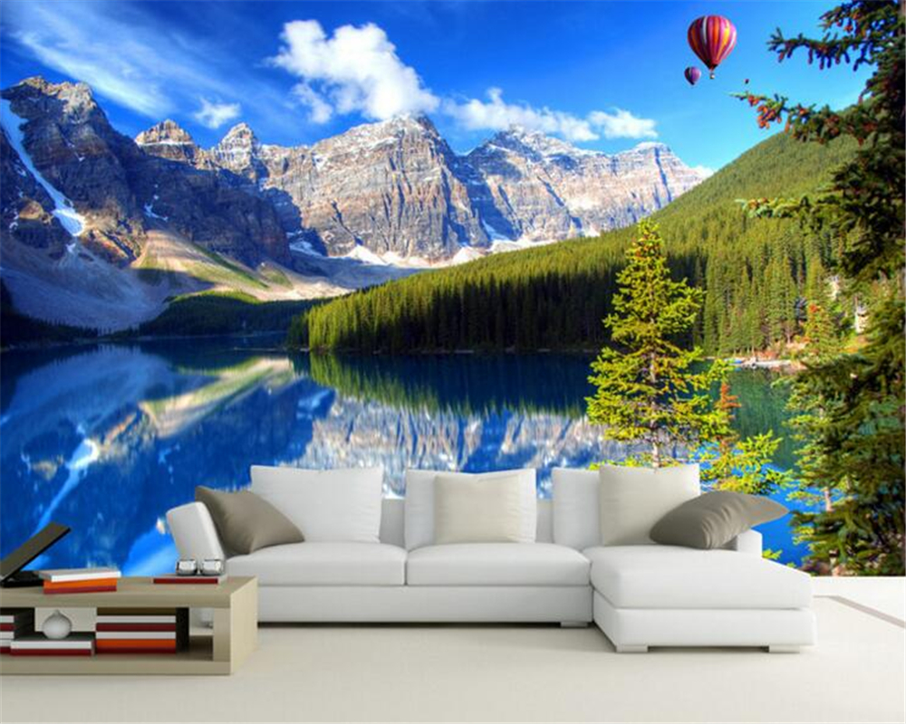 papel de parede Customize any size 3D Wallpaper Lake Blue Sky Mountain Background TV Sofa Fresco Home Wallpaper for walls 3 d<br><br>Aliexpress