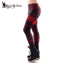 [You're My Secret] Fashion Red Plus Size Leggings Woman Blood Stains 3D Digital Print Fitness Leggins Women Pencil Pants Black(China)