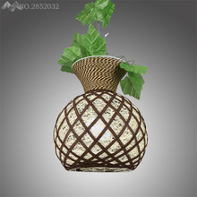 Nordic countryside creative art plant pendant lamp Bamboo rattan hand made restaurant cafe living room Hanging light decoration(China)