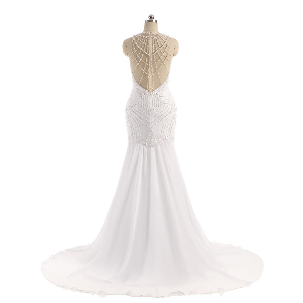 Lover Kiss Vestido De Noiva Sheer Neck Sexy Wedding Dress Pearls Mermaid Sleeveless Wedding Dresses Wedding Dress 3