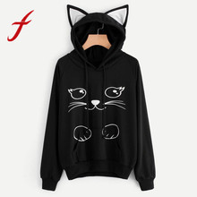 Feitong Hoodies Sweatshirt Womens Fashion Autumn Lovely Cat Printed Long Sleeve Sweatshirt Hooded Pullover Tops sudadera mujer(China)