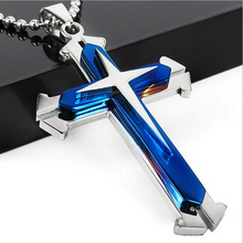Blue Black Silver Stainless Steel Crystal Men's Cross Pendant Necklace BallChain Jewelry Three Layer(China)