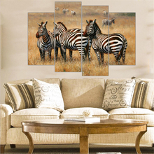 Modern Zebra Paintings Large Canvas Paintings Animal Print Grassland scenery Wall Art Picture Home Decoration Unframed 4 Pieces