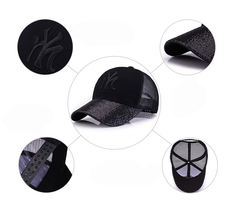 [Rancyword] 17 New Branded Baseball Caps Canada Women's Cap With Mesh Bone Hip Hop Lady Embroidery Hats Sequins RC1134 3