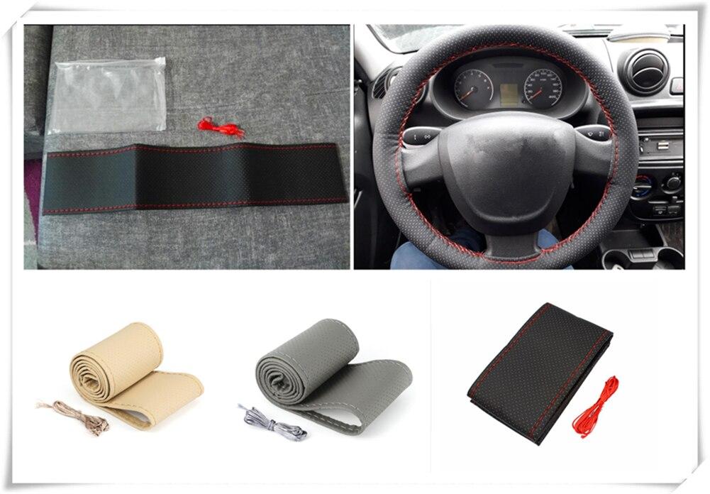 Universal car parts hand sewing steering wheel cover 36 38 40CM for Toyota VIOS LAND CRUISER PRADO COASTER highlander