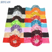 16pcs/lot Stretchy Lace Headband with Metallic Fabric Flower Faux Pearl Centered Kids Baptism Headwear Can Choose Color HB007