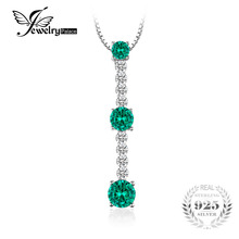 JewelryPalace Fashion 2ct Round 3 Stones Created Emerald Necklaces Pendant 925 Sterling Silver 45cm Box Chain Women Fine Jewelry(China)