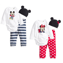 2016 Newborn Baby Girl Clothing Set (Romper+Hat+Pants 3 pcs) Mickey Minne Infant Baby Boys Clothes Babies Pajamas Roupas Bebes