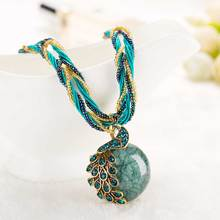 New Peacock decoration rough necklace Female clavicle short chain Turquoise stone pendant necklaces For Women Vintage Necklace