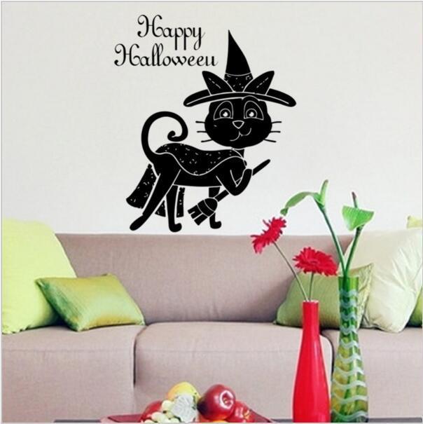 Magic Black Cat Wall Sticker Hat Broom Cat Happy Halloween Wall Decals  Halloween Decoration PVC Wall Part 38
