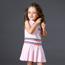 Girls Pink White Dress 2017 Brand Princess Dresses Sleeveless Striped Design Polo Collar Girls Clothes Party Dress 2 3 4 5 Years