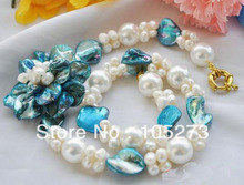 Hot Sale Pearl Jewelry 19'' 4-20MM White Round Baroque Pearl Blue Shell Flower Necklace Fashion Jewelry New Free Shipping