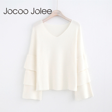 Jocoo Jolee Women Fashion Ruffles Long Sleeve Sweater Warm V Neck Pullover 3 Colors Women Knitted Sweater 2017 Global Shopping(China)
