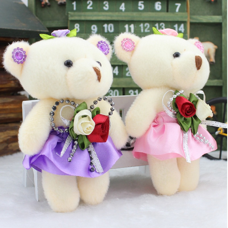 Lovely Mini Bear Soft Plush Toy Phone Charm Stuffed Small Toy Promotional Gift Opp Cotton Bear Doll For 12cm For Christmas Gift