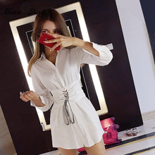 Buy MIAOQING 2018 Korean Style Slim Belt shirt Office Lady Elegant Short Dress lapel long sleeved Women Shirt Dresses Split White for $18.51 in AliExpress store