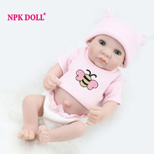 Handmade Full Vinyl 10 Reborn Dolls For Girls Mini Boneca Reborn Realista Soft Baby Sleeping Dolls Newborn Toys(China)