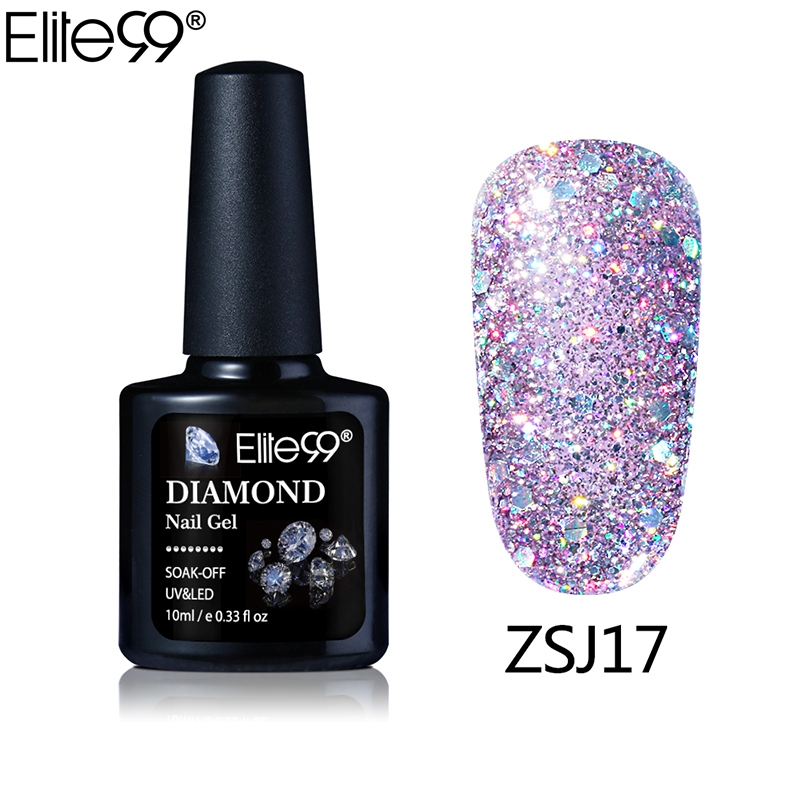 Elite99 New Arrival UV Gel Nail Manicure 10ml Diamond Glitter UV Nail Polish Sequins Gel Nail Good Quality Soak Off Gel Polish(China (Mainland))
