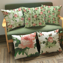 European Pastoral Rose flower painting 45*45 Pillow case Cushion Cover Sofa Car coffee shop club Home living Decorative for gift(China)