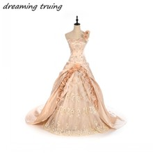 Champagne Ball Gowns Princess Wedding Dresses With 3D Flowers Beading Vestido De Noiva Tulle One Shoulder Bridal Wedding Gowns