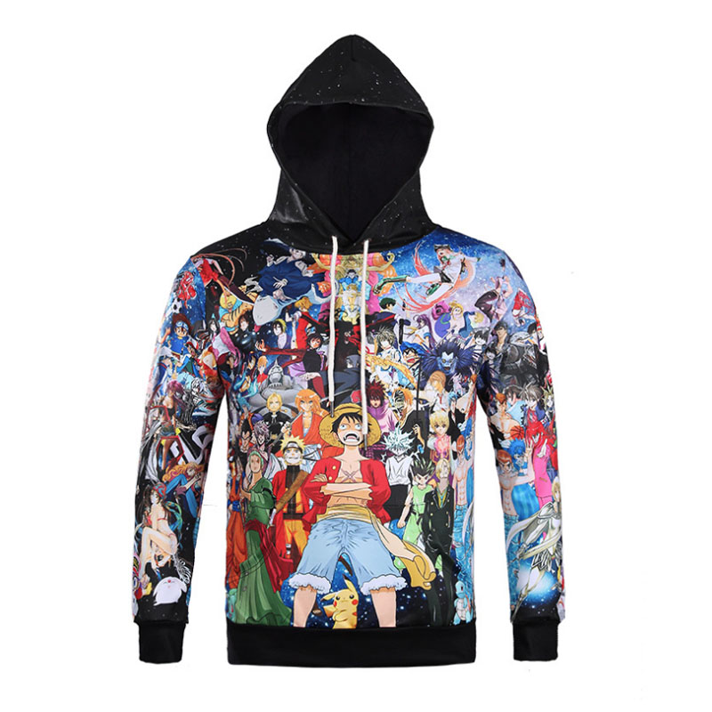 Harajuku Anime One Piece Naruto Dragon Ball Death Note Hoodies 3D Print Hip Hop Pullover Sweatshirts Outfit Tops