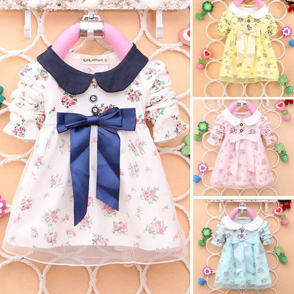 New Cute Kids Baby Girl Floral Cotton Lapel Bow Full Sleeve Spring/Autumn Tulle Princess Dress 0-4Y<br><br>Aliexpress
