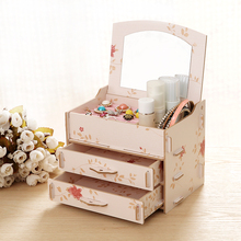 DIY High Quality Wooden storage box Make Up Organizer 3 Drawers Storage Box Clear Plastic Cosmetic Storage Box Organizers