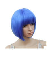 Fei-Show Short Wavy Wig Flat Bangs Bob Blue Hair Synthetic Heat Resistant Fiber Peruca Party Salon Costume Cos-play Hairpiece