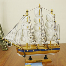 30CM Wooden Sailboat,Mediterranean Style Wood Crafts,Super Luxury Sailing Vessel Miniatures Gifts,Home Desktop Decoration