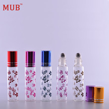 10 ml (100 pieces/lot) Metal Roll On Bottles For Essential Oils Butterfly Printing Travel Perfume Bottle Wholesale Free Shipping