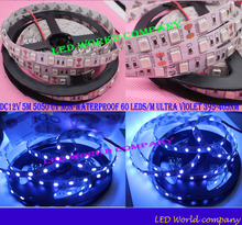Free shipping China Post Registered Air Mail DC12V 5M 5050 UV Non  Waterproof 60 LEDs/M Ultra Violet 395-405nm LED Strip Light
