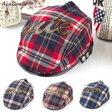 Baby Berets Grid Design England Style Children Fashion Cute Cap Summer Berets Baby Hat Boy Caps For Child Girl Berets KidsWM-009