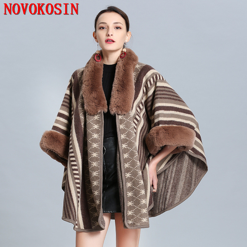 SC297 2019 Winter Plus Size Knitted Short Sleeves Striped Poncho Print Fur Collar Shawl Women Faux Fox Fur Loose Cardigan Coat