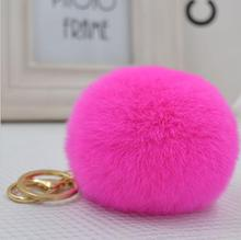 Hot Sale 8CM Fluffy Ball phone Keychain Cute Pompom Simulation fox Fur Ball Key Chain For Car Key Ring Car Bag Pendant Chaveiro(China)