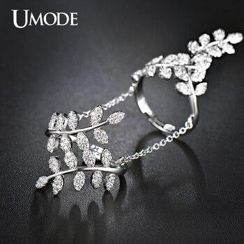 Rama de olivo umode anillos micro cz del oro blanco plateado con Cadena de La Joyería para Las Mujeres Bijoux Anillo Bague Femme Hembra UR0266